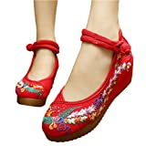 Heeled Phoenix Embroidery Flats Single Shoes Fashion Woman Embroidered Dance Shoes Chinese Antiquity Girl Getting Married Shoes(High heel 3-5CM)by Elaiya
