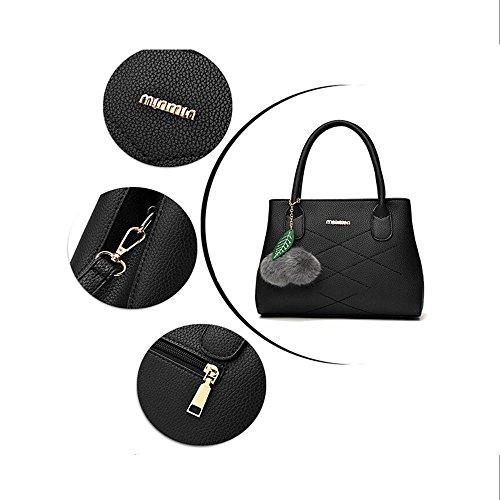 Toopot Sacchetto di spalla di cuoio della borsa di cuoio di Pu Può semplice semplice delle donne Nero