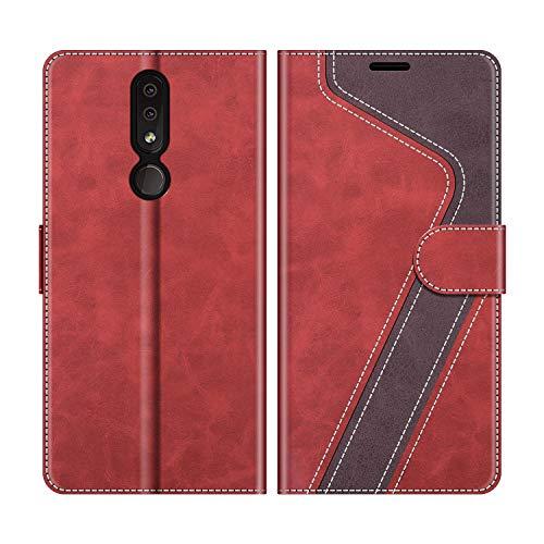 MOBESV Handyhülle für Nokia 4.2 Hülle Leder, Nokia 4.2 Klapphülle Handytasche Case für Nokia 4.2 Handy Hüllen, Modisch Rot