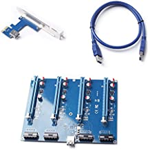 Rokoo 60CM PCIE 1X a 16X Riser Card Extension Adapter 1 a 4 PCI Express USB3.0 Cable para Bitcoin Mining Machine