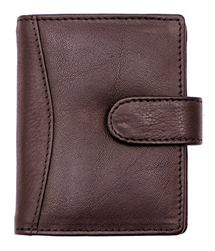 RAS® Echtes Weiches Leder Kreditkartenhalter Brieftasche - 20 Klare Plastiktaschen - 4 Weitere Kartensteckplätze - Knopfverschluss #602 (Braun) (Schaf-leder-schuhe)