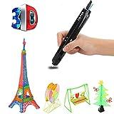 LZX 3D-Druckstift, Sicher Und Einfach Zu Bedienen 3D-Stift Mit LCD-Bildschirm, Geeignet Für Kinder, 3D-Zeichnungs Stift, 20-Farbige Pla-Filament-Nachfüllung (Schwarz)