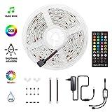 HoMii HoMii LED Streifen 5m - RGB LED Strips Sync mit Musik, IP65 Wasserdicht 150 LED 5050 SMD Farbwechsel LED Strip, 40 key Fernbedienung,16 single colors