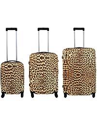 Policarbonato Set de equipaje 3 piezas - Leopardo Casos de viajes Maleta con ruedas Maleta de carcasa dura - Maleta en S-M-L