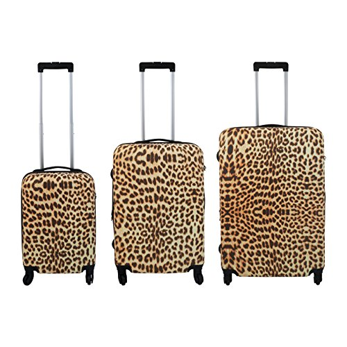 Polycarbonat Koffer-Set 3-teilig - Leopard Reisekoffer Trolley Hartschalenkoffer - Koffer in S-M-L