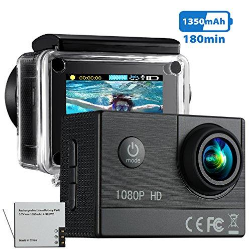 VTIN Action Kamera 1080P HD WIFI sports cam 2,0 Zoll Unterwasserkamera Helmkamera wasserdicht 170 Ultra-Weitwinkel mit 2 Batterien und Zubehör Kits
