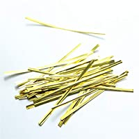 "the GreatTony 800pcs Twist Tie Metallic Foil Ties for Cellophane Bags, Gift Wrap, 4"" (100mm) Gold"
