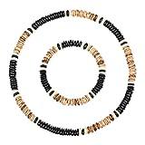 Stylez-Connection® Surferkette + Armband Surferarmband mit passender Halskette Surferschmuck Herren + Damen (Art.-Nr.: 0094 - schwarz/braun)