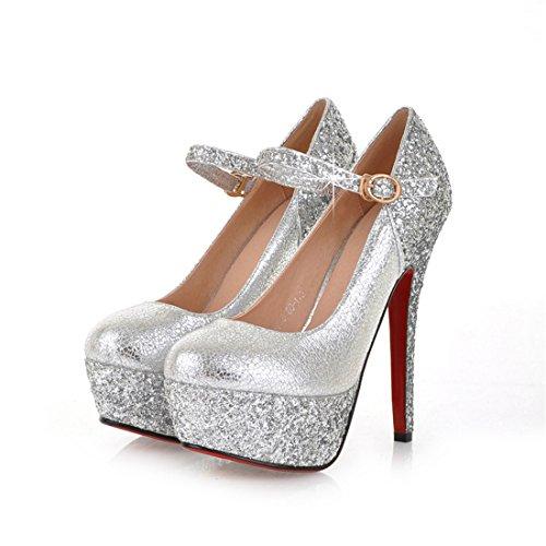 UH Frauen Leder-Rote Untere Absatz-Buckle 14CM Sequin-Plattform Diskothek Fashion Sexy Pumps Schuhe (37, Silber)