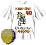 T-Shirt Fun Shirt Ich bin über 40 bitte helfen sie mir aufs Fahrrad Größe L zum 40. Geburtstag + 5 Luftballons, lustige Geschenke