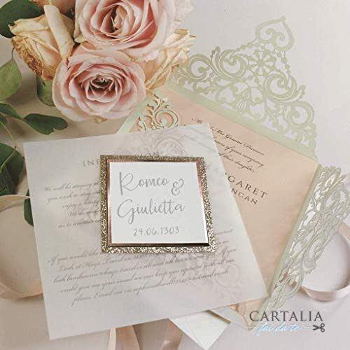 CAMPIONE partecipazione matrimonio fai da te Shabby chic GLITTER rose oro SET anniversario fidanzamento compleanno DIY carta avorio taglio laser con 2 inserti busta avorio