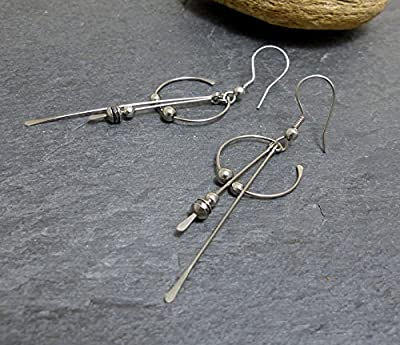 Boucles d'oreille modernes, hématite et acier inoxydable (A21)