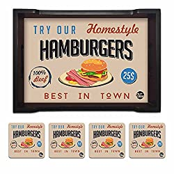 Nutcase Designer Wooden Serving Trays With A Set Of 4 Matching Metal Coasters for Kitchen Serving/Dining Set - Hamburgers