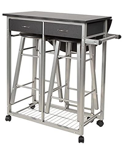 ts-ideen 3-piece kitchen and dining trolley with bar stools for the kitchen MDF metal frame silver and black 83 x 79,5