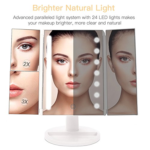 Specchio per Trucco Ingranditore 10x 3x 2x 1x, Specchio Trucco Illuminato con Rotazione 180° con 24 Luci LED Touch Screen Regolabile Tri-pieghevole Specchio Cosmetico Ideale per Regalo, Trucco, Rasatura recensioni dei consumatori