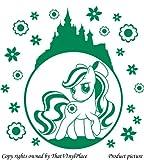 My Little Pony-Sticker, bubble, Burg- und Blumen-Motiv, 60 x 60 cm, Farbe: Grün von Disney, Kinderzimmer, Pferd, Kinder, Kinderzimmer, Wandtattoo, Vinyl Fenster und Auto, Wandsticker, Wandtattoo, Windows-Kunst, ThatVinylPlace Wandtattoo