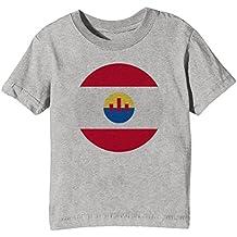 Erido Francés Polinesia Nacional Bandera Niños Unisexo Niño Niña Camiseta Cuello Redondo Gris Manga Corta Todos