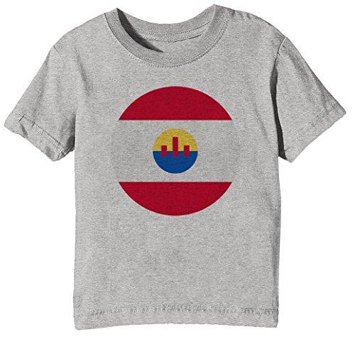 Französisch Polynesien National Flagge Kinder Unisex Jungen Mädchen T-Shirt Rundhals Grau Kurzarm Größe XL Kids Boys Girls Grey X-Large Size (Flagge Französische Kleid)