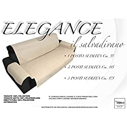 tex family COPRIDIVANO PN SALVADIVANO Elegance Panna ANTIMACCHIA Trapuntato Piano Liscio - 3 posti Seduta cm. 175