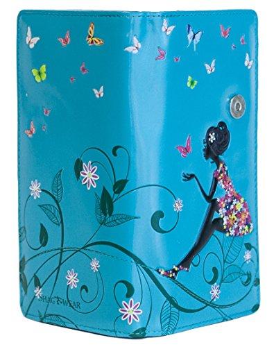 Shagwear Junge-Damen Geldbörse, Large Purse: Verschiedene Farben und Designs: (Schmetterling Oase Aquamarin/Butterfly Oasis)