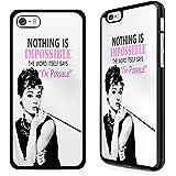 Gadget Zoo - Carcasa para iPhone 4, 4S, 5, 5S, 6, 6S Plus, con texto en inglés, color negro, plástico, Audrey Hepburn Nothing is impossible, iPhone 6 6s