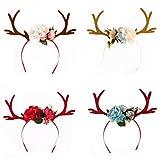 UChic 4 STÜCKE Schlussverkauf Schöne Weihnachten Geweih Elch Stirnband mit Glitter Ohren DIY Reh Plum Elch Kind Rentier Horn Blume Haarband Party Kleidung Zubehör
