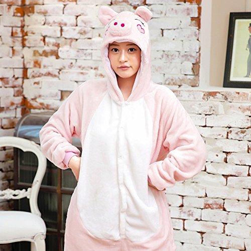 CWJ Unisex Adult Pyjamas - Plüsch One Piece Cosplay Tier Kostüm Winter Verdickung Freizeitbekleidung,Rosa Schwein,S (Adult Schwein Kostüme)