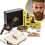 LEJSA - Kit barba uomo completo professionale - Ingredienti Naturali - Contiene Shampoo Balsamo Olio Pettine Spazzola Forbici Sagoma rasatura e Grembiule con ventose