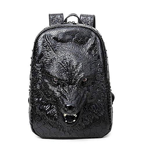 etach Persönlichkeit 3D Simulation Tier Wolf Schultertasche PU tragbar Reise Computer Rucksack schwarz