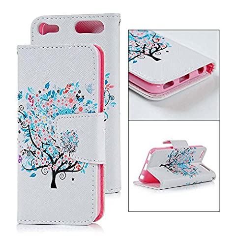 iPod Touch 6 Case, iPod Touch 6 6th Generation Case -Mavis's Diary Colored Drawing PU Leather Magnetic Flip Protective Cover Shell Wallet Case Folio Pouch Holster iPod Touch 6th Generation(Pattern 9- Blooming Tree)