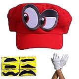Super Mario Odyssey Mütze Augen Links - Set mit 1x Handschuhen und 6X Klebe-Bart - Kostüm für Erwachsene & Kinder - perfekt für Fasching, Karneval & Cosplay