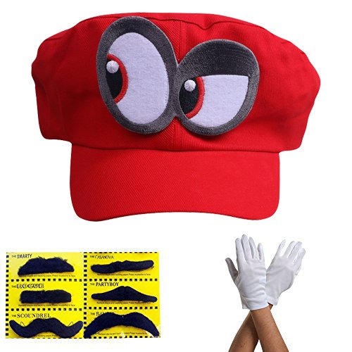 Super Mario Cappello Odyssey - Set di 1x Guanti e 6x barba appiccicosa Costume per adulti e bambini - Perfetto per Carnevale e Cosplay - occhi a SINISTRA