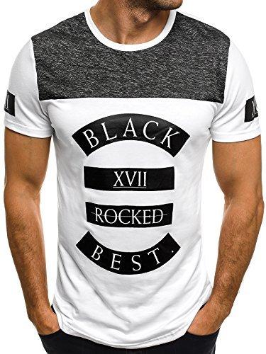 OZONEE Herren T-Shirt mit Motiv Kurzarm Rundhals Figurbetont J.STYLE ss158 Weiß