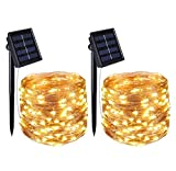 QYL 2 Pack Solarbetriebene Saiten Leuchten, (100 LED 2 Modi) Solar Fairy String Lights, 33Ft/10M Kupferdraht Saiten Leuchten, Auto On Off, Waterproof 1,2 V Portable