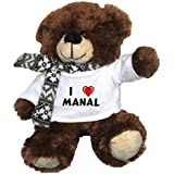 Oso marrón de peluche con Amo Manal en la camiseta (nombre de pila/apellido/apodo)