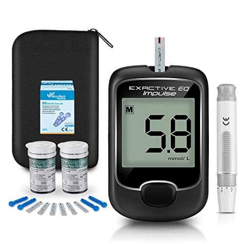 Blood Glucose Monitor Meter, Diabetes Testing Kit [2019 Upgrade] Blood Sugar Tester with 50 Codefree Test Strips and 50 Lancets - for UK Diabetics in mmol/L by Exactive EQ