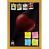 ArtzFolio Red Heart Printed Bulletin Board Notice Pin Board cum Golden Framed Painting 12 x 17.5inch