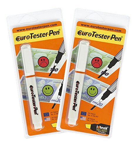 EURO TESTER PEN  XL - Rilevatore per il Controllo di Banconote False (Formula Brevettata - Made in Italy) 2 Tester Sconto 30% Funziona su Tutte le Principali Valute