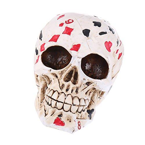 MagiDeal 3D Gothic Schädel Figur Replik Geschnitzte Modell Poker Farbig Halloween Party Dekoration (Halloween Poker Party)