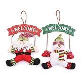 Zogin Adornos de Navidad que cuelgan de la puerta, con la forma Papá Noel y muñeco de nieve, colgantes de la decoración para árbol de Navidad (2pcs)