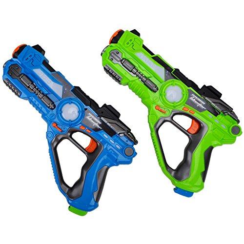 WISHTIME Laser Tag Battle Pistole Spielzeug ZM17037 Multiplayer Battle Schießen Spiel Aktive Spielzeug Gun Blaster Feature Laser Tag für Kinder Jungen Erwachsene Familien 2 Pack(Zufällige Farbe) (Space Gun-spielzeug)