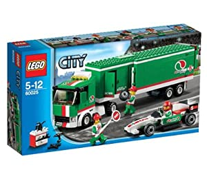 LEGO City - Grand Prix truck - 60025 60025 (Back up the Grand Prix Truck, open the articulated trailer and unload the super-fast Formula race car… )