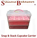 Silicone Bakeware Snap and Stack 3-Tier Cupcake Holder and Cake Carrier Container, Plastic, Pink