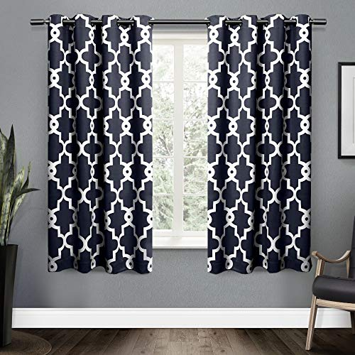 Exclusive Home Curtains Ironwork Satin mit Blackout-Tülle-Fenster Vorhang-Paar, Polyester, Peacoat Blue, 52x63 Moderne Peacoat