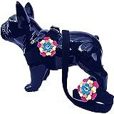 Lushpetz Harnais Flower Dog avec Mine Assortie, Rose Noir Bleu ou Violet, pour Petites Races de Chiens Xsmall... (Large fit Poitrine 60cm / 23.5', Noir)