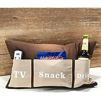 Sofakissen mit Taschen 50x30 cm komfort braun (TV, Snack, Drink) | Kissen, Sofakissen, Kuschelkissen | Handarbeit