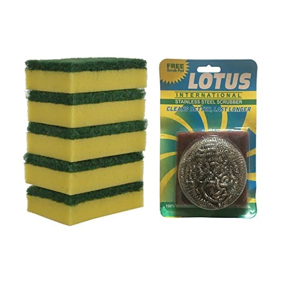 Brite Guard Polyester Multipurpose Scrub Sponge with Free Steel Scrubber & Scrub Pad (Green, 22-Piece)