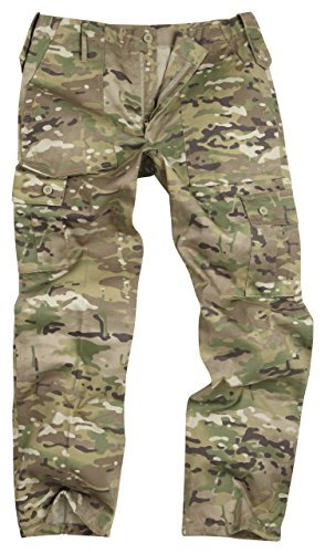 Army and Outdoors 6 Pocket Camouflage Combat Cargo Trousers - Multi Camouflage (38) (Camouflage 6-pocket)
