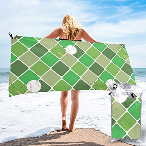 Fun Life Art Fast Quick Dry Towel,Sports & Beach Towel.High Ball Diamond Green Suitable for Camping, Gym, Yoga,Swimming,Travel,Hiking,Backpacking.