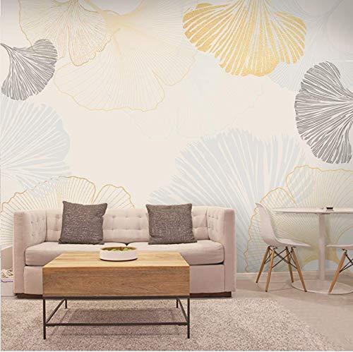 3D Vliestapete3D Vlies Wallpapernordic Apricot Leaf Tv Hintergrund Tapeten Moderne Minimalistische Wohnzimmer Dekoration Tapete 5D Stereo Film Wandbild Malerei, 200 * 140 -